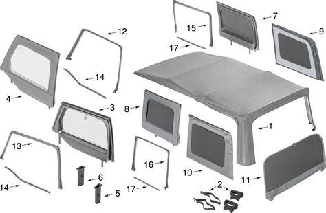 Jeep Tj Soft Top Parts Jeep Wrangler Jk Soft Top Window Parts 4 Door Quadratec