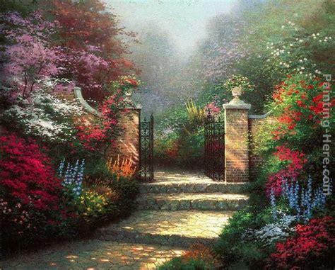 thomas kinkade  victorian garden painting framed
