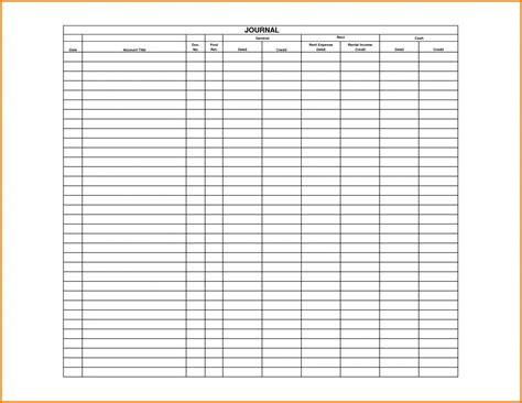 Spreadsheet Receipt Template by 4 General Journal Template Receipt Templates Also