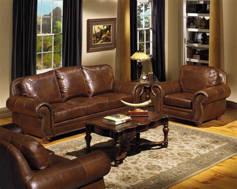 classic brown leather sectional comined with unique