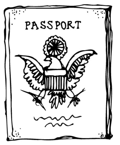 passport coloring page cake ideas and designs