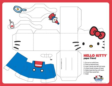 14 best photos of hello kitty papercraft templates hello
