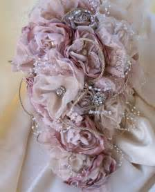 vintage inspired shabby chic fabric wedding bouquet bridal bouquet with pearls we know how to