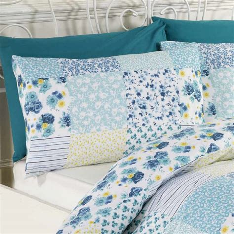 Patchwork Duvet Cover Uk - elsie blue patchwork duvet cover set tonys textiles