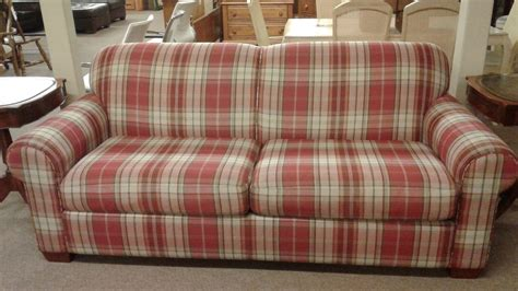 red checkered sofa lazyboy plaid sofa delmarva furniture consignment