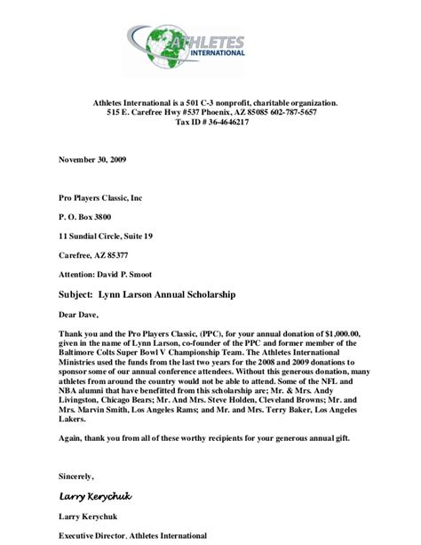 Thank You Letter For Organizing Athletes International Thank You Letter David P Smoot