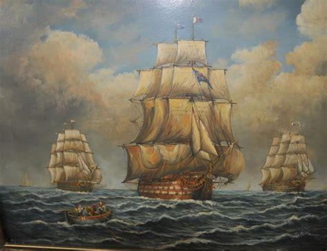 english victorian oil painting armada galleon ship sea