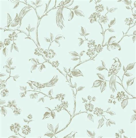 details about wow shabby chic birds duck egg blue gold floral feature wallpaper blue gold