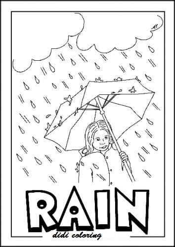 printable rainy weather coloring page girl standing with