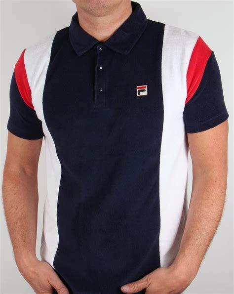 Polo Shirt Fila Keren Terlaris fila vintage kelson polo shirt navy white terry towelling retro classic