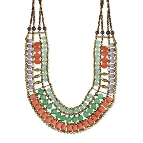 wholesale pastel bead bib necklace zad fashion costume