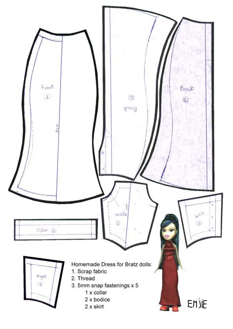 Dress A Doll Template by Blythe Dress Pattern