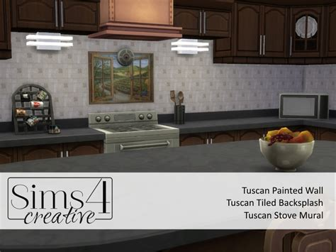 backsplash mural kb resource sims4creative s tuscan plaster walls w tiled backsplash