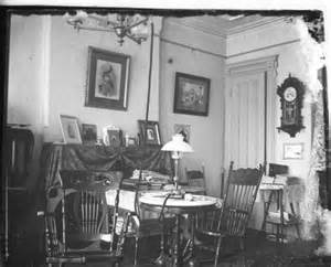 Log Homes Interiors Glass Negative Of C 1910 Home Interior With Gas Lights