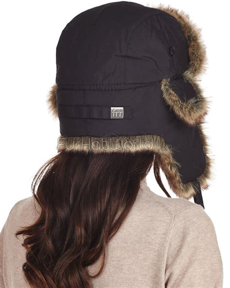 womens black taslon faux fur trapper hat furhatworld
