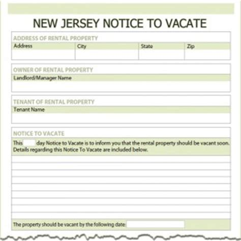 Tenant Eviction Notice New Jersey New Jersey Notice To Vacate