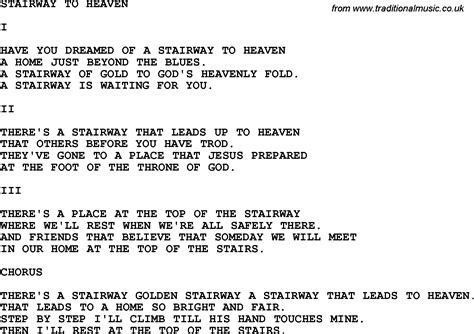 stairwells lyrics country southern and bluegrass gospel song stairway to