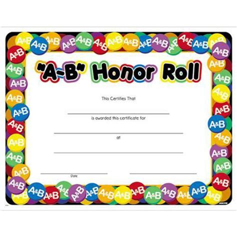 A B Honor Roll Certificate Template by A B Honor Roll Award Certificate 8 1 2 X 11 A B Honor