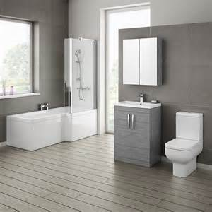 Twin Basin Vanity Unit Brooklyn Grey Avola Bathroom Suite With L Shaped Bath