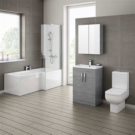 bathroom suites ideas grey avola bathroom suite with l shaped bath