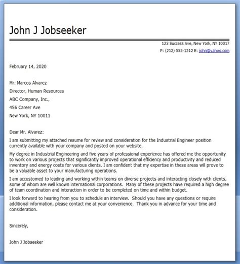 cover letter of engineer industrial engineer cover letter exles creative