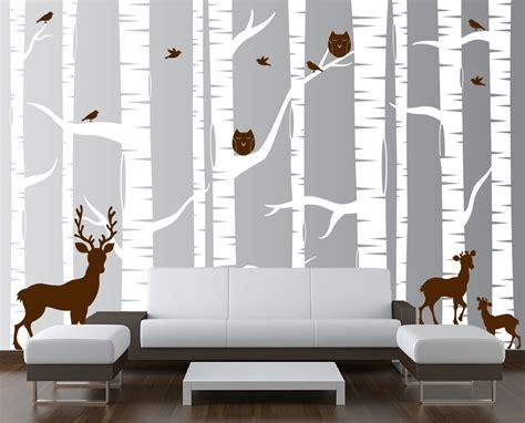birch tree with bird and deer wall decals birch tree forest set vinyl wall decal owls deer 1323 innovativestencils