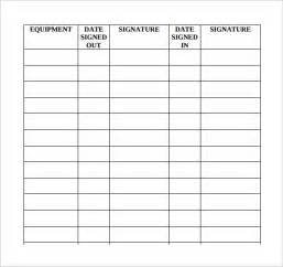 equipment sign out sheet template sle equipment sign out sheet 10 documents in pdf