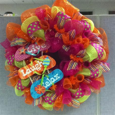 summer mesh wreath wreath ideas pinterest