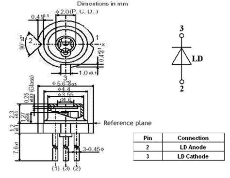 pin configuration of diode single mode laser diode at 660nm