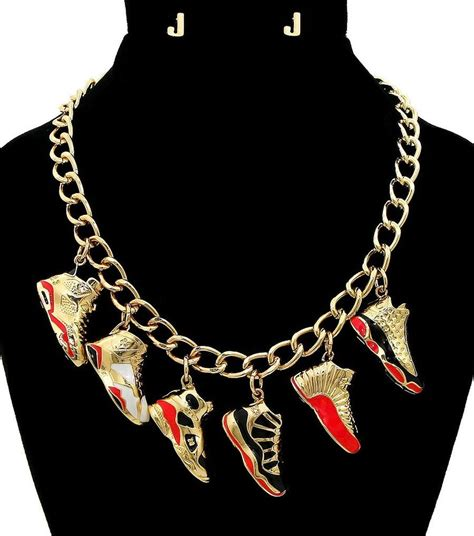 Shoe Necklace by Gold Shoes Charm Necklace And Earrings Set