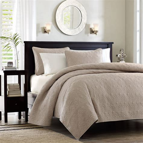 bed coverlets bedspreads quebec khaki coverlet by madison park beddingsuperstore com