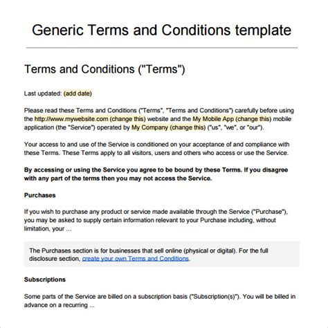 service terms and conditions template sle terms and conditions 9 free documents