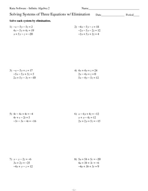Solving Systems Of Equations By Elimination Worksheet by Worksheets Solving System Of Equations By Elimination