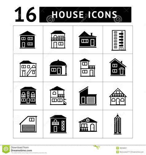 Garage Apartment Plans Set Of House Icons Real Estate And Building Colle Stock Image Image 36258651