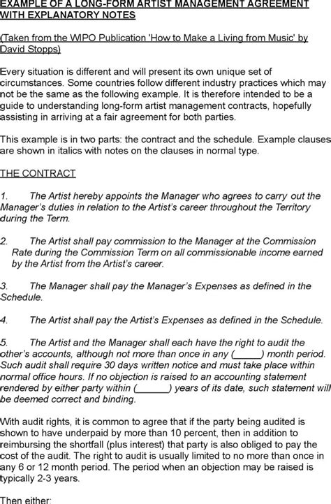 Artist Management Contract Templates Download Free Premium Templates Forms Sles For Artist Management Plan Template