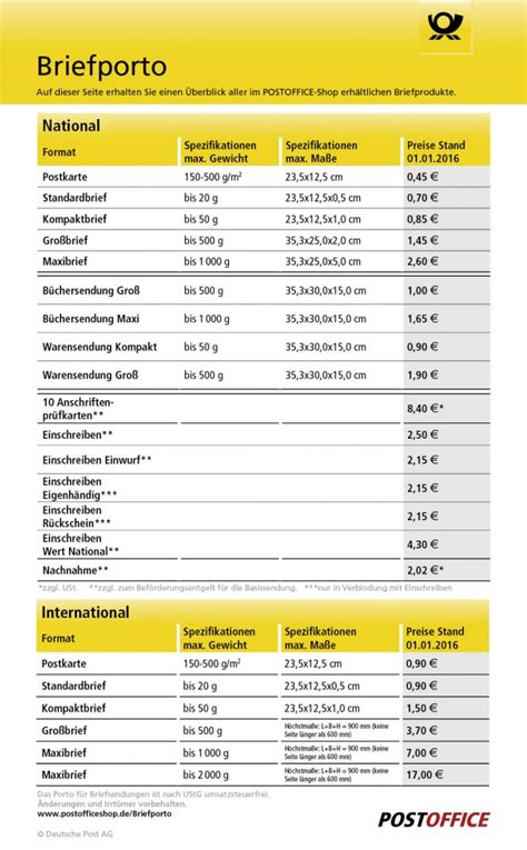 Porto Schweiz Brief Deutsche Post Briefporto Postoffice Shop