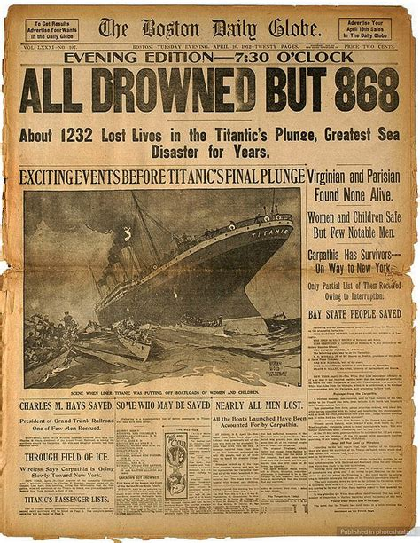 Titanic Sinks Newspaper by 28 Newspaper Headlines From The Past That Document History