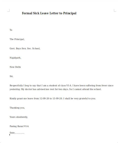 College Leave Letter For Fever Sle Formal Sick Leave Letters 5 Exles In Word Pdf