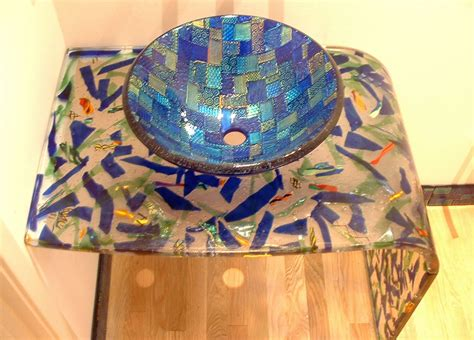 Grey Blue Mosaic Vessel Sink   Sinks Gallery
