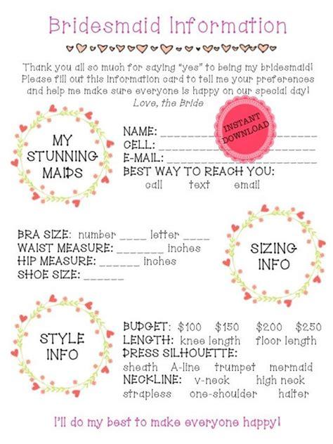 Printable Bridesmaid Information Sheet Bridal Party Planning Bridesmaid Information Template