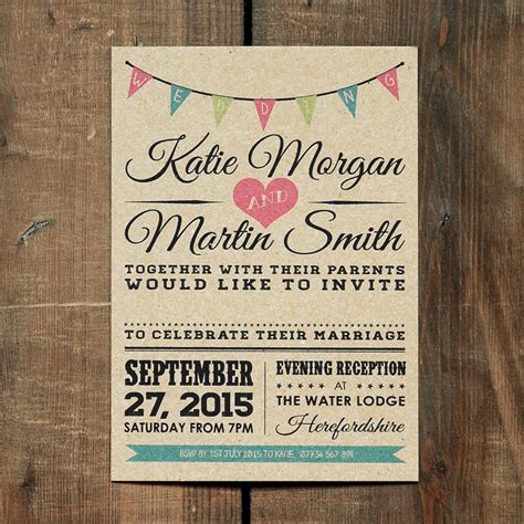 wedding invitation vintage bunting kraft wedding invitation by feel