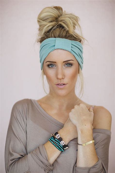 hairstyles with stretchy headbands mint green turband wide headband sparrow headband in mint