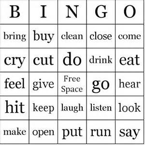 verbs bingo cards