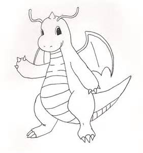 Pokemon Coloring Dragonite Sketch Page sketch template