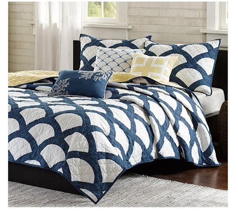 navy blue and white comforter sets navy blue and white comforter set with scallop quilt and