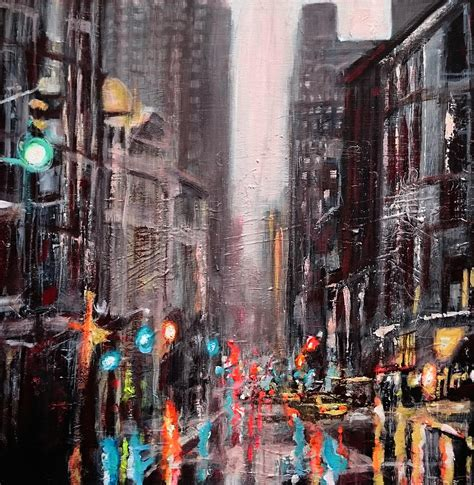 Painting In Nyc by New York Dusk Painting By Paul Mitchell