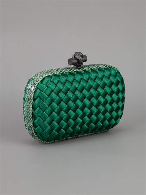 Bottega Venetta Green lyst bottega veneta woven clutch bag in green