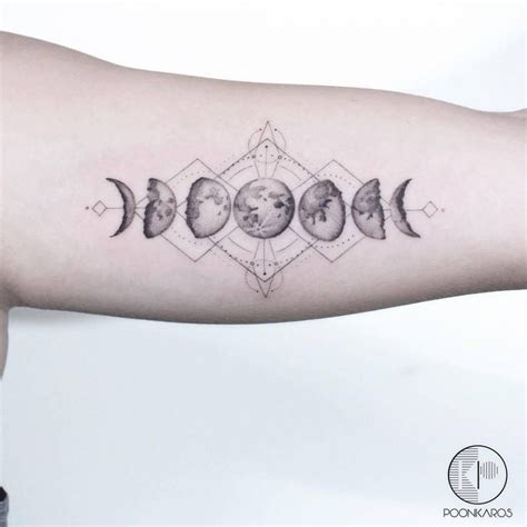 moon cycle tattoo moon phases on the left inner arm astronomy