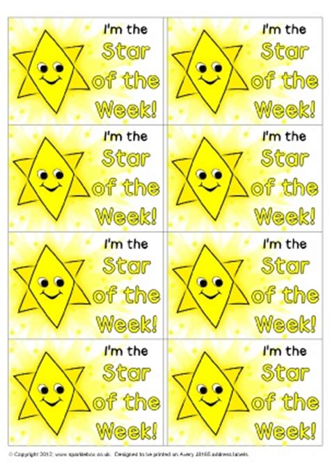 printable star of the week badge primary school star of the week certificates and awards