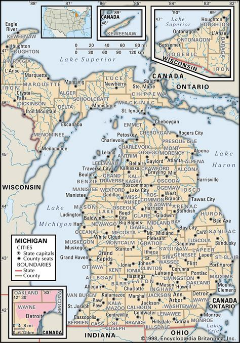 show me a map of michigan state and county maps of michigan